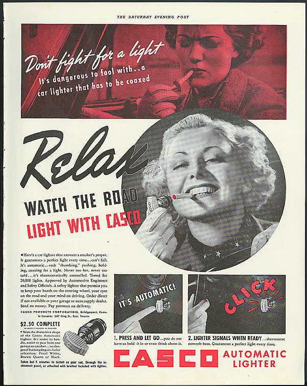 Don't fight for a light Casco Automatic Cigarette Lighter for Your Car ad 1937